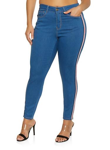 Plus Size WAX Side Tape Trim Skinny Jeans,MEDIUM WASH,large