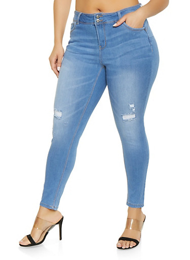 Plus Size WAX 2 Button Distressed Jeans,LIGHT WASH,large