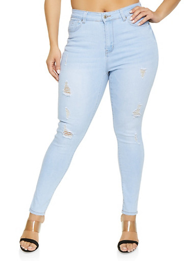 Plus Size WAX Whisker Wash Distressed Jeans,LIGHT WASH,large
