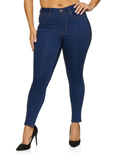 Plus Size WAX Push Up Jeans,BLUE,large