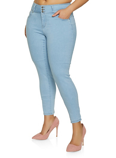 f95e2b07da4 Plus Size WAX 3 Button Skinny Jeans - Rainbow