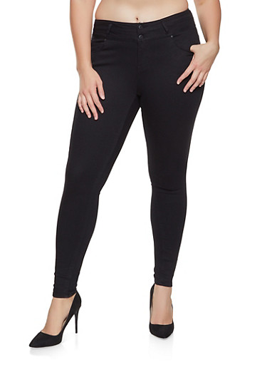 Plus Size WAX Double Button Push Up Skinny Jeans,BLACK,large