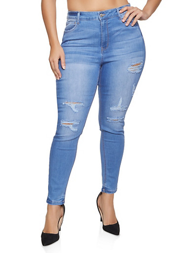 Plus Size WAX Distressed Basic Skinny Jeans,LIGHT WASH,large