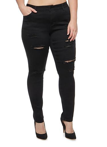 Plus Size WAX Frayed Skinny Jeans,BLACK,large