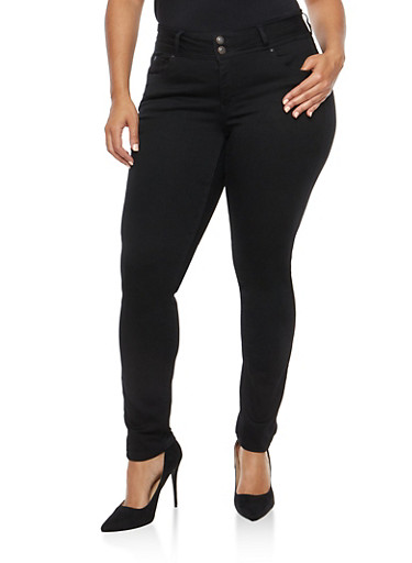 Plus Size WAX 2 Button Skinny Jeans,BLACK,large