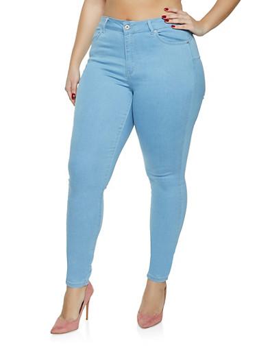 Plus Size WAX Basic Push Up Skinny Jeans,LIGHT WASH,large