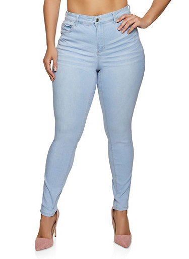 Plus Size WAX Whiskered Basic Jeans,LIGHT WASH,large