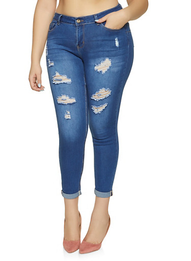 Plus Size WAX Distressed Push Up Jeans,MEDIUM WASH,large