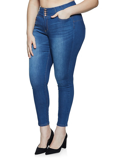 Plus Size WAX 3 Button Whisker Wash Jeans,MEDIUM WASH,large