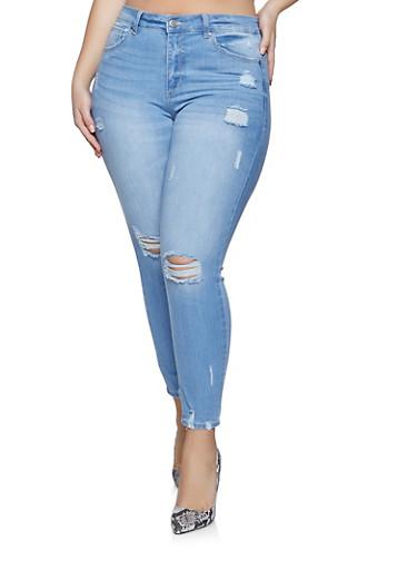 Plus Size WAX Whisker Wash Frayed Jeans,LIGHT WASH,large