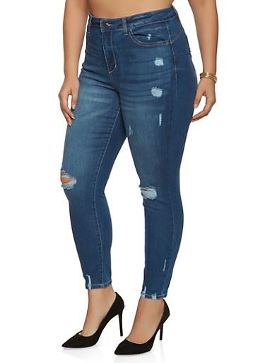 Plus Size WAX Whisker Wash Frayed Jeans,MEDIUM WASH,large