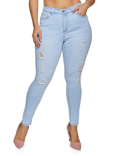Plus Size WAX Mid Rise Distressed Jeans,LIGHT WASH,large