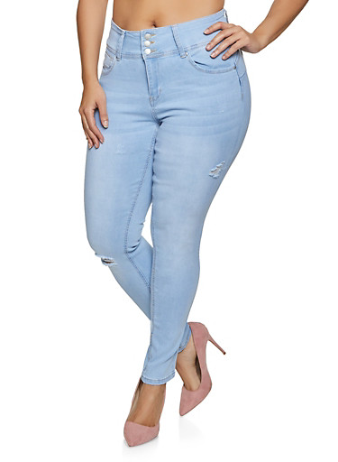Plus Size WAX Three Button Whiskered Jeans,LIGHT WASH,large