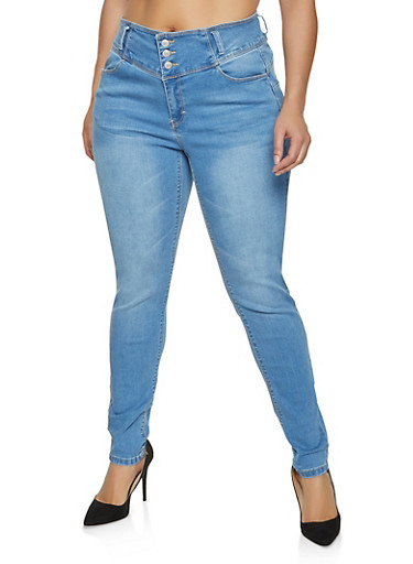 Plus Size WAX 3 Button Whiskered Skinny Jeans,LIGHT WASH,large