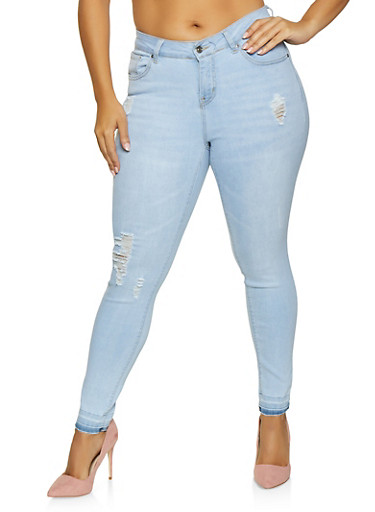 Plus Size WAX Distressed Skinny Jeans,LIGHT WASH,large