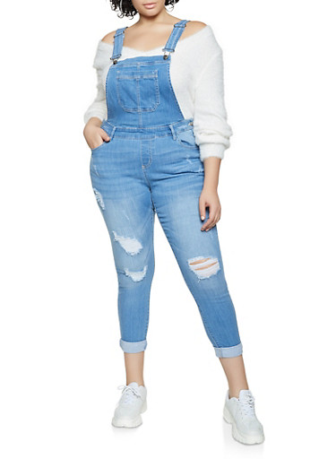 Plus Size WAX Cuffed Suspender Overalls,LIGHT WASH,large