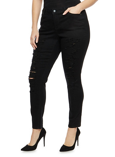 Plus Size WAX Distressed Skinny Jeans,BLACK,large