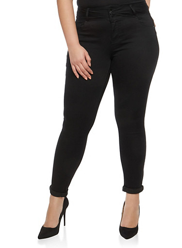 Plus Size WAX Solid Push Up Jeans,BLACK,large