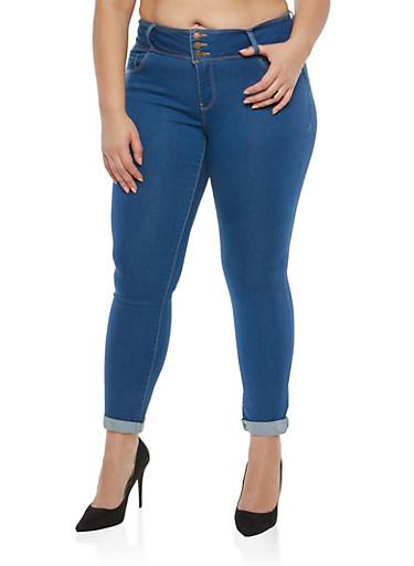 Plus Size WAX Solid Push Up Jeans,MEDIUM WASH,large
