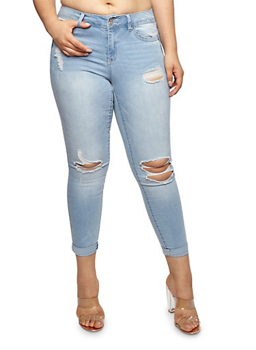 Plus Size WAX Distressed Push Up Jeans | Tuggl