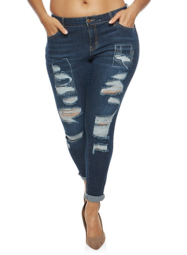 Plus Size WAX Destroyed Denim Jeans,DARK WASH,large