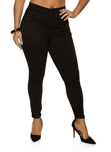 Plus Size WAX Three Button Roll Cuff Jeans,BLACK,large