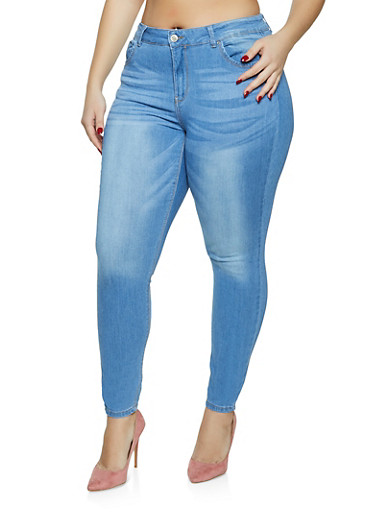 Plus Size WAX Mid Rise Skinny Jeans,LIGHT WASH,large