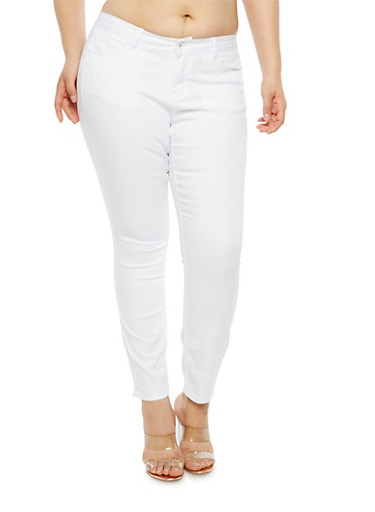Plus Size WAX Push Up Solid Skinny Jeans,WHITE,large