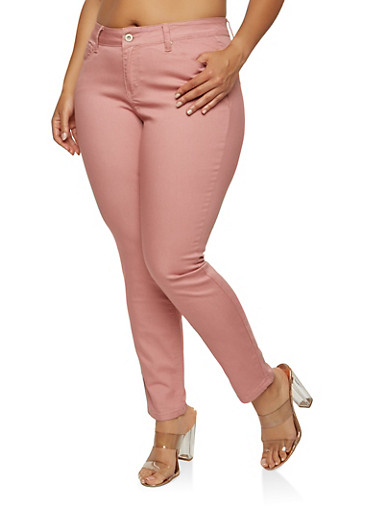 Plus Size WAX Push Up Solid Skinny Jeans,MAUVE,large
