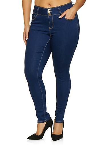 Plus Size WAX Three Button Push Up Jeans,BLUE,large