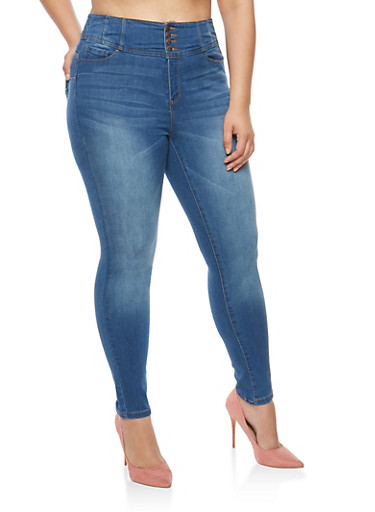 Plus Size WAX 4 Button High Waisted Push Up Jeans,MEDIUM WASH,large