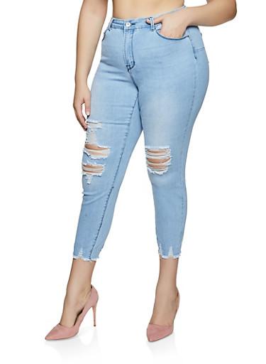 Plus Size WAX Frayed Hem Whiskered Jeans,LIGHT WASH,large