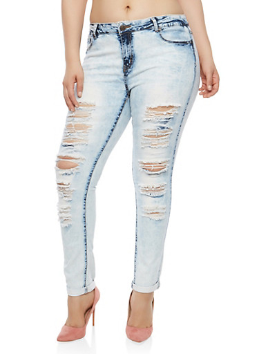 Plus Size Destroyed Acid Wash Skinny Jeans,MARBLE,large