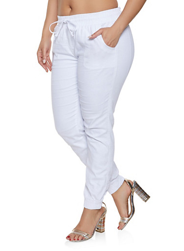 Plus Size Drawstring Waist Twill Joggers,WHITE,large