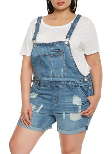 Plus Size Almost Famous Frayed Shortalls,MEDIUM WASH,large