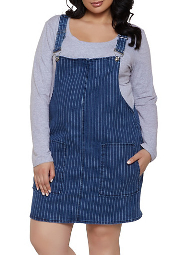 98407847bb4 Plus Size Almost Famous Striped Denim Overall Dress - Rainbow