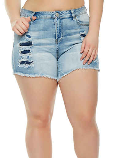 Plus Size Almost Famous Ripped Denim Shorts,LIGHT WASH,large