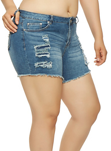 Plus Size Almost Famous Frayed Denim Shorts,DARK WASH,large