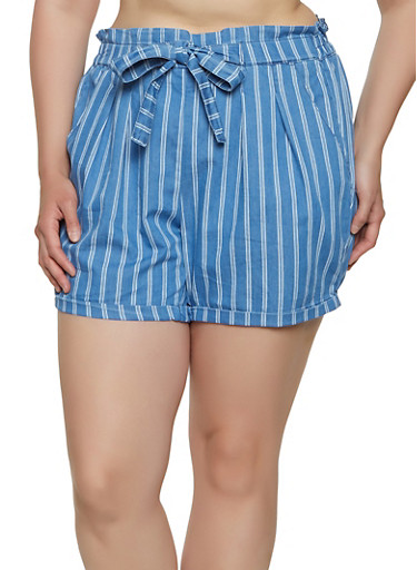 Plus Size Chambray Paper Bag Waist Shorts,BLUE,large