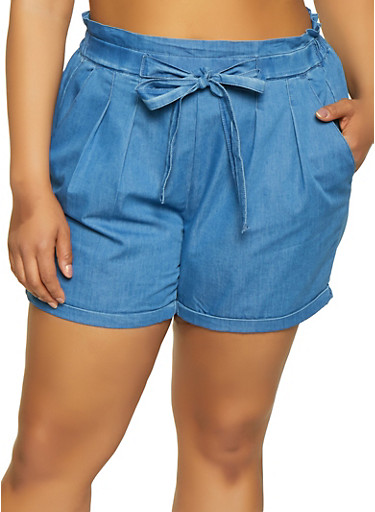 Plus Size Almost Famous Pleated Chambray Shorts,BLUE,large
