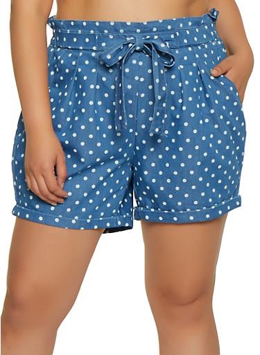 Plus Size Polka Dot Chambray Shorts,BLUE,large