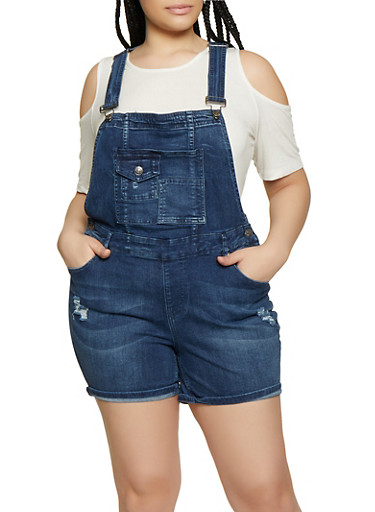 Plus Size Almost Famous Frayed Denim Shortalls,MEDIUM WASH,large
