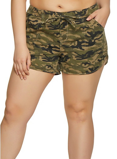 Plus Size Almost Famous Camo Denim Dolphin Shorts,GREEN,large