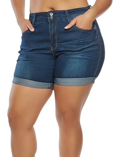 Plus Size Denim Bermuda Shorts,DARK WASH,large
