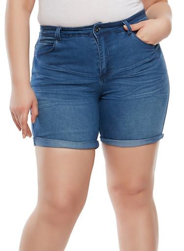 Plus Size Whisker Wash Denim Shorts,MEDIUM WASH,large