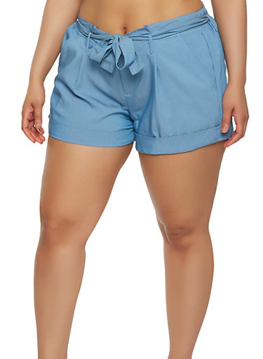 Plus Size Tie Belt Chambray Shorts | Tuggl