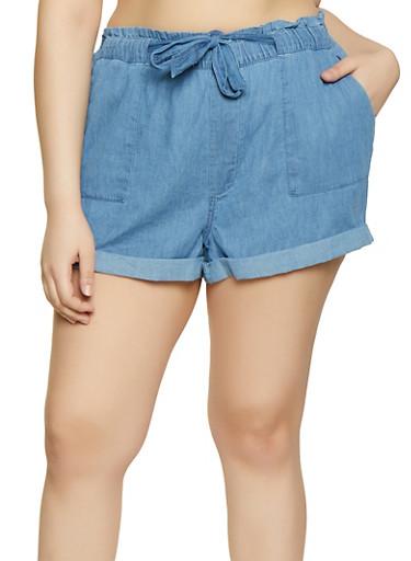 Plus Size Belted Chambray Shorts,MEDIUM WASH,large