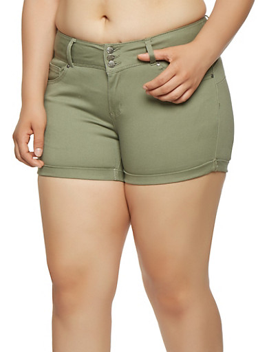 Plus Size Colored Push Up Shorts,GREEN,large