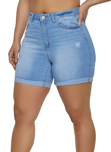 Plus Size WAX Fixed Cuff Bermuda Jean Shorts,LIGHT WASH,large
