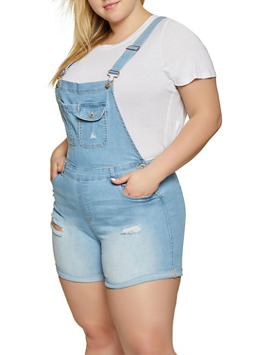 Plus Size WAX Frayed Denim Shortalls,LIGHT WASH,large